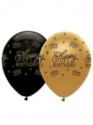 6 palloncini Happy Birthday nero e oro