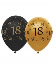 6 palloncini in nero e oro per compleanno 18 anni