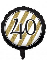 Pallone di alluminio per i 40 anni nero e oro di 46 cm