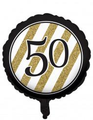 Palloncino di alluminio nero e oro 50 anni
