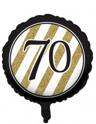 Palloncino di alluminio nero e oro 70 anni