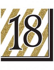 16 tovaglioli 18 anni nero e oro