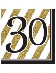 16 tovaglioli per i 30 anni in nero e oro di 33 x 33 cm