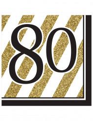 16 tovaglioli 80 anni nero e oro