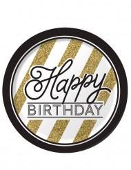 8 piatti Happy Birthday nero e oro 23 cm