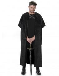 Mantello con finta pelliccia nero adulto