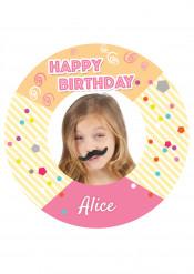 Disco di zucchero personalizzabile happy birthday bimba