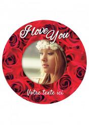 Disco in zucchero personalizzabile I Love You