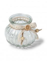 Piccolo vaso in vetro con antiche rifiniture in pizzo