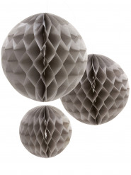 3 palle in carta alveolare grigia 15 20 e 25 cm