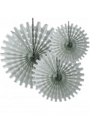3 rosoni a ventaglio in carta grigia da 20, 30 e 40 cm di diametro
