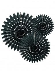 3 ventagli di carta nera 20 25 e 30 cm