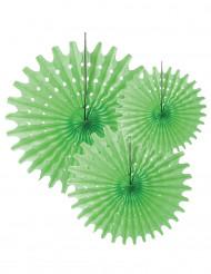 3 Festoni tondi in carta verde anice 20 25 e 30 cm