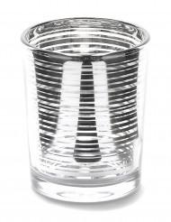 Lampada portacandele in vetro a righe argentate