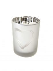 Porta candele in vetro smerigliato color argento con decorazione a cuore