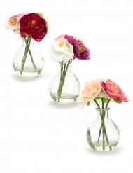 Vasetto di vetro con fiori artificiali