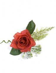 Decorazione da tavolo a forma di mazzolino con rosa rossa artificiale