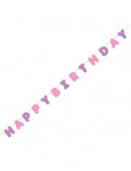 Ghirlanda di Buon Compleanno rosa e viola