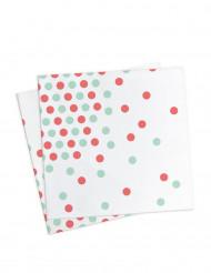 20 tovaglioli di carta a pois rossi e verdi 33 x 33 cm