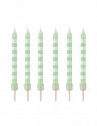12 candeline a righe bianche e menta