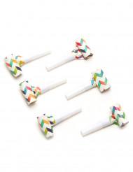 6 Lingue di Menelik multicolori con motivo a zigzag
