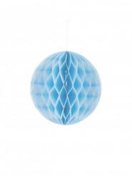 Piccola sfera di carta a nido d'ape blu cielo 10 cm
