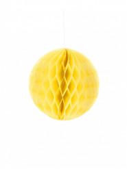 Piccola sfera in carta a nido d'ape gialla 10 cm