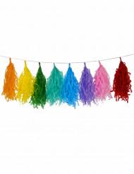Ghirlanda con 16 pompon multicolore