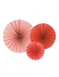 3 ventagli di carta di colore rosso arancio