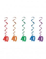 Set 5 ghirlande spirale 40 anni