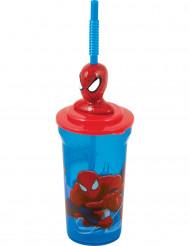 Bicchiere con cannuccia di plastica Spiderman