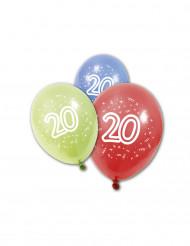 8 palloncini colorati con il numero 20