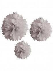 3 ponpon di carta grigi 20, 30 e 40 cm
