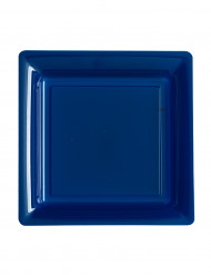 12 piattini quadrati in plastica blu marine