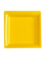 12 piattini quadrati di plastica gialli 18 cm