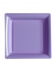 12 piattini quadrati di plastica lilla 18 cm