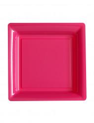 12 piattini quadrati di plastica fucsia 18 cm