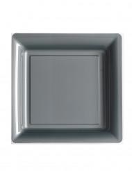 12 piatti quadrati di plastica grigio argento