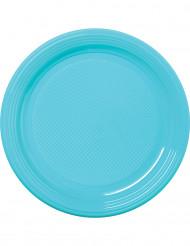 30 piatti di plastica celesti 22 cm