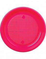 30 piatti di plastica fuxia