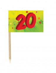 10 bandierine numero 20 su stecchini