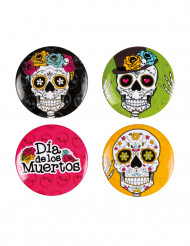 Set di 4 spille pins Dia de los muertos
