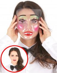 Maschera trasparente da ragazza truccata