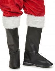 Copristivali di lusso neri con pelliccia Babbo Natale