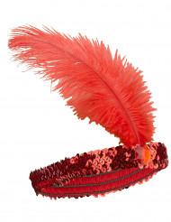 Fascia rossa con piuma stile Charleston