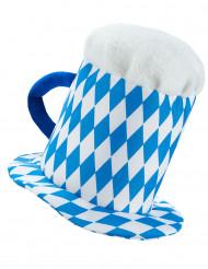 cappello pinta di birra blu e bianca per adulto