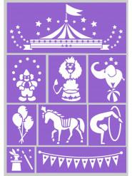 Stencil per trucco riutilizzabili a tema circo Grim Tout