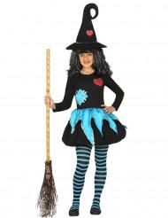 Costume da strega nero e celeste bambina Halloween 2d750a81b200