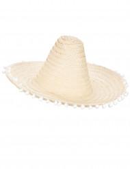 Sombrero con pompons sui bordi per adulto