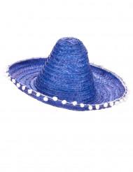 Sombrero blu per adulto con bordo impreziosito da pompon